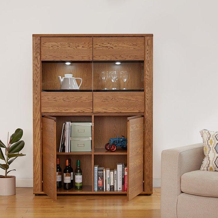 Unique Olten Low Oil Oak Display Cabinet