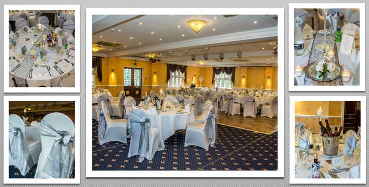 Dark grey colour schemed venue dressing. White chair covers and dark grey organza sashes with white lace. You can hire venue dressing like this at Natalija.Co Event Planning, find us on facebook, or visit our website, www.natalija.co.uk