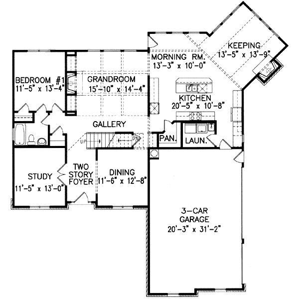 Plan 15798ge Angled Keeping Room Home Plan 2nd Floor