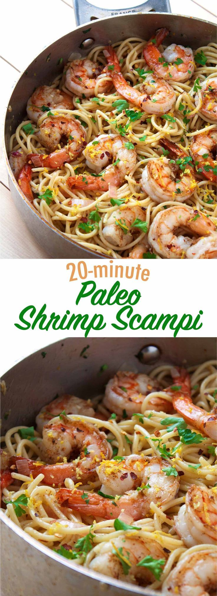 Perfect for a simple, quick weeknight meal and only takes 20 minutes to make! This shrimp scampi recipe is paleo, gluten free, and dairy free.