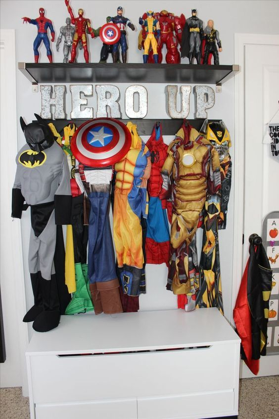 15 Cool Kids Room Ideas - Superhero Shelving for costumes and figures