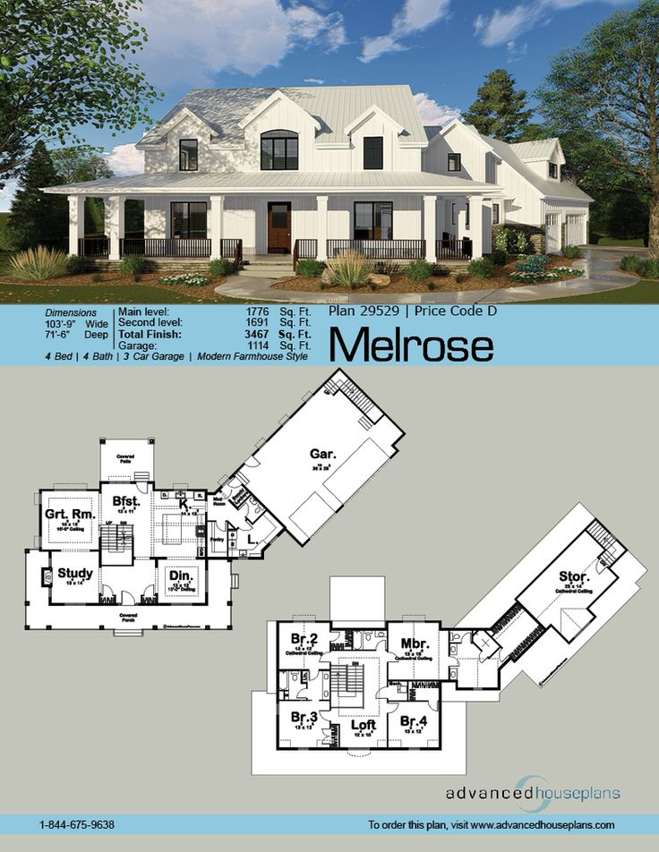 this l shaped 15 story modern farmhouse plan is highlighted on the
