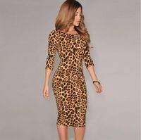 Novo 2014 moda feminina vestido de leopardo V voltar meia manga Midi Bodycon vestido Sexy partido Clubwear vestido vestidos de festa