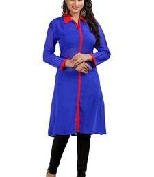 Buy DESIGNER GEORGETTE BLUE KURTI FOR WOMEN kurtas-and-kurti online