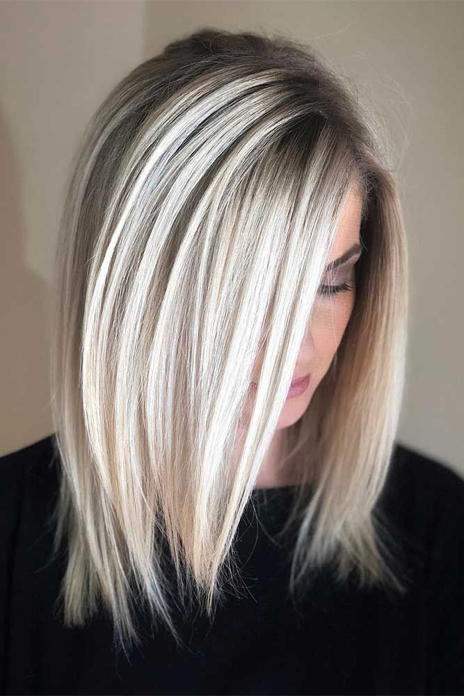 A Blonde lob haircut with dark roots. Today we are going to prove you that there...
