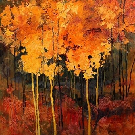 Mixed Media Tree Art Good Fortune by Colorado Mixed Media Abstract Artist Carol Nelson, painting by artist Carol Nelson
