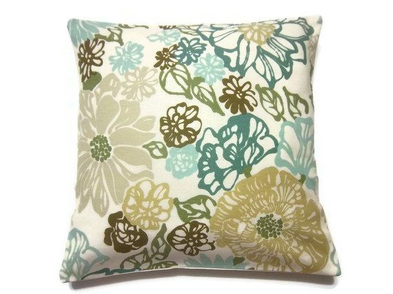 Modern Floral Pillows : Decorative Pillow Cover Teal Mint Green Olive Green Brown Modern Floral Toss Throw Accent 16 ...