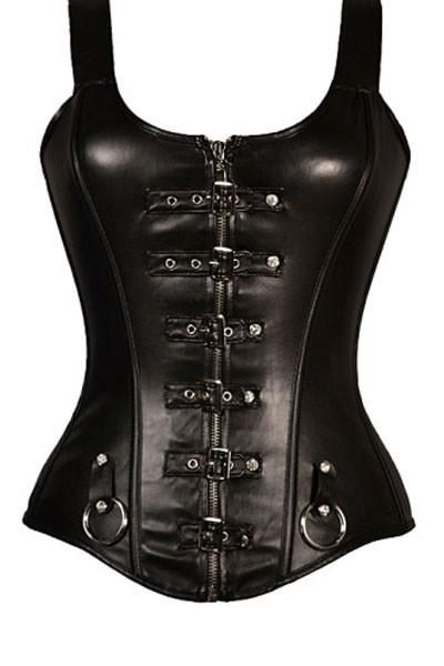 Punk Buckled Detail Straps Full Zipper Black Leather Corset with buckle detail, plastic bones, strong corset zip, fine cotton twill lining. Front zipper closure