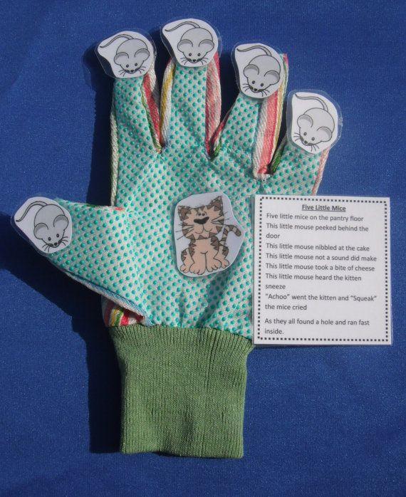 5 Little Mice Glove Hand FingerPlay Puppet by TeacherByDesign, $4.00