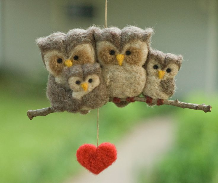 Needle Felted Owl Ornament - Family of Four SO Cute! This artist has many owls & other birds.