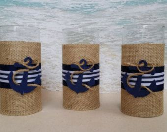 Nautical Vase Centerpiece Burlap Navy Stripes & by ParadiseBridal
