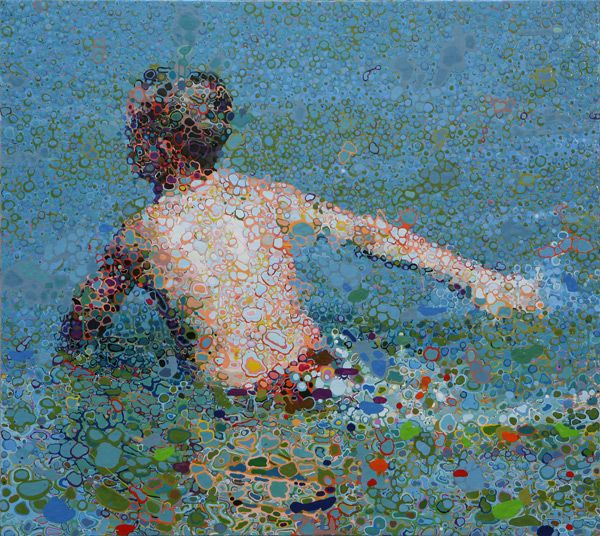 Matthew Davis. The Berlin-based artist creates these surreal images by using his brush to slowly drip oil paints into small pools. Amazing.