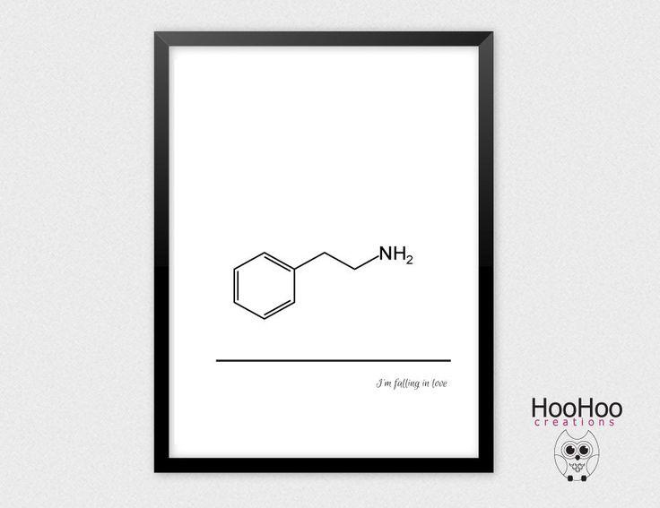 Phenylethylamine molecule, Drug love, wall decor, minimalistic poster, black and…