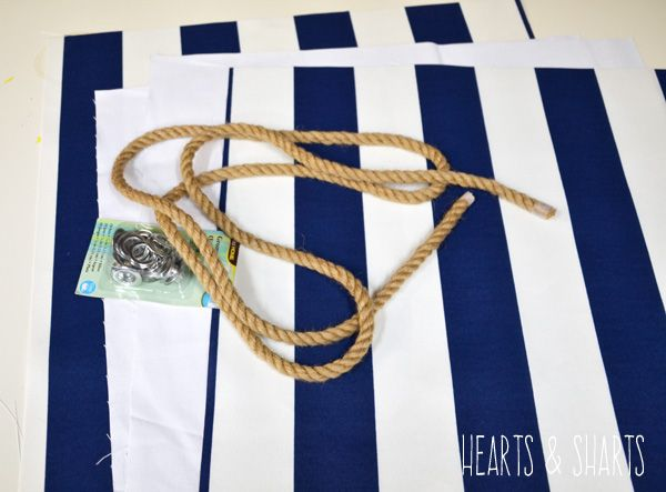 fabric ropes grommets tote bag
