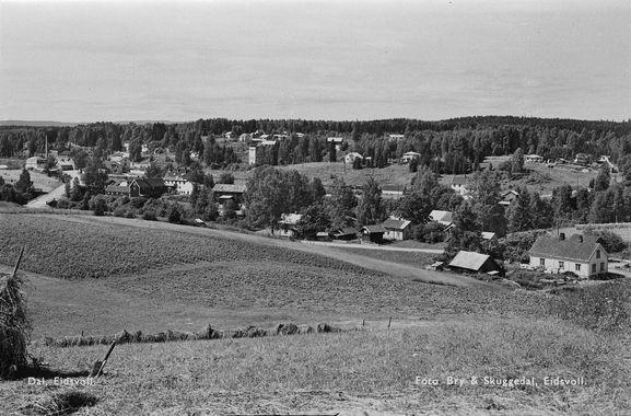 Dal i Eidsvoll Akerdhus fylke utsikt 1950-tallet Foto: Bry og Skuggedal