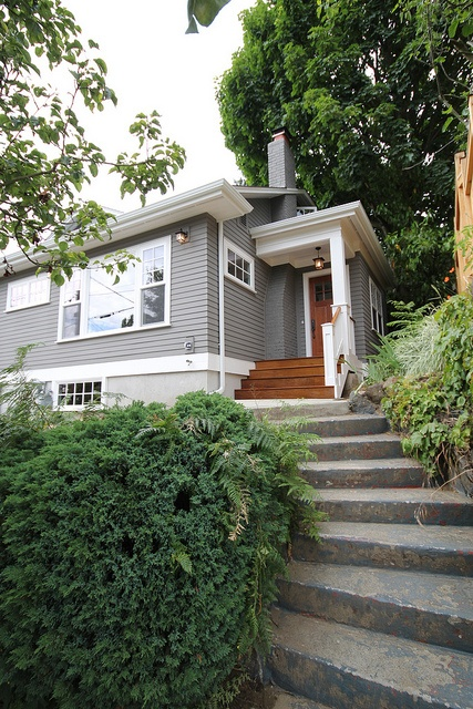 House Color. Light grey with wooden door.