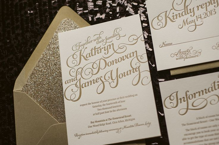 Kathryn suite glitter package gold wedding invitations for Inexpensive glitter wedding invitations