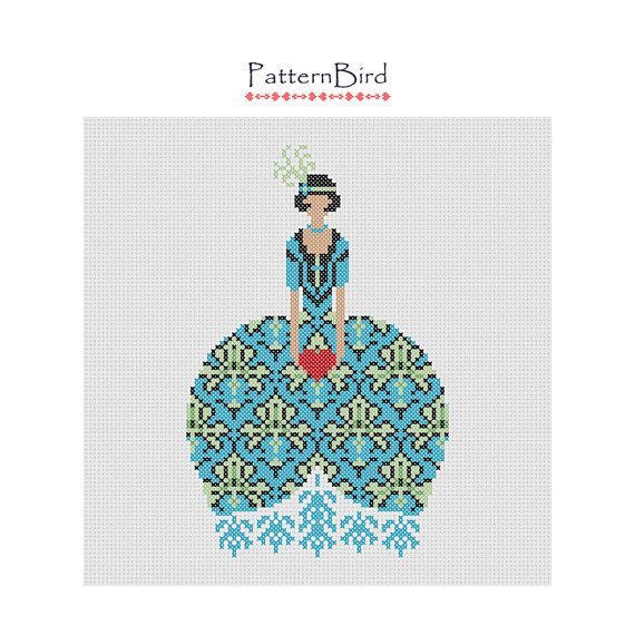 Deco girl with heart. Instant Download PDF Cross by PatternBird