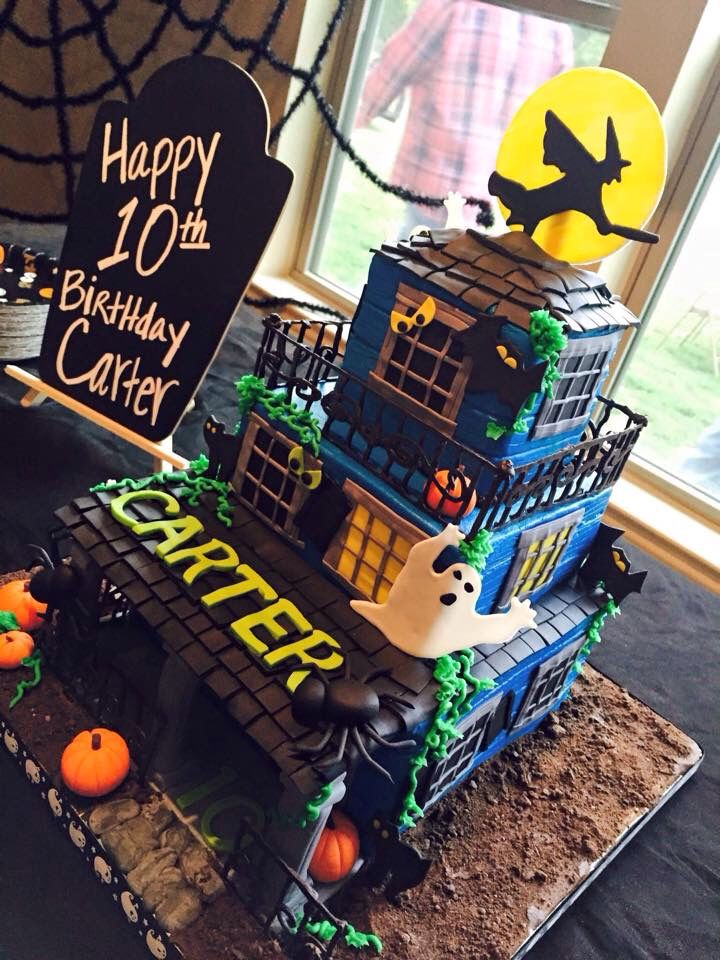 Halloween themed birthday cake with buttercream siding - fondant deco and tile.  Haunted house.  Made by Brandy's Cakes in Weatherford, TX.