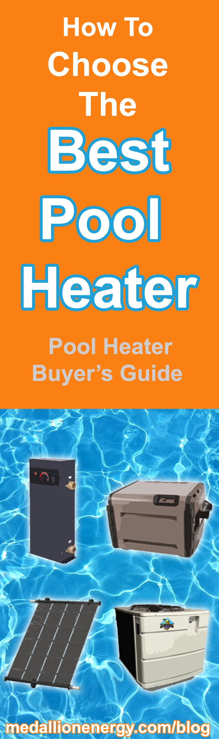 As a pool owner, you have 4 options for heating your pool. Gas heaters, Electric Resistance heaters, Pool Heat Pumps, and Solar heaters. In this post we discuss how each works, purchase and operation costs, and the unique pros and cons of each option. And by the end, you should have a solid idea of which option is the best pool heater for you.   Read More: http://www.medallionenergy.com/blog/choose-best-pool-heater-2016/