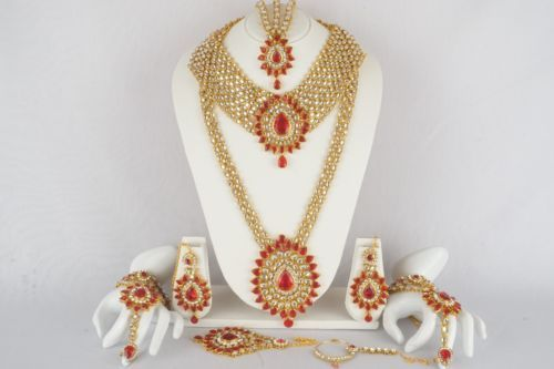 Indian-Bollywood-Diamante-Kundan-Pearl-Gold-Tone-Bridal-Fashion-Jewelry-Set-8888