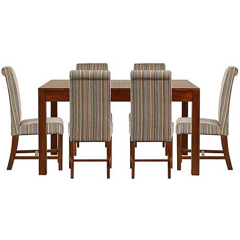 Debenhams Acacia Kerala Extending Table And 6 Lime Green Striped Upholstered Elba