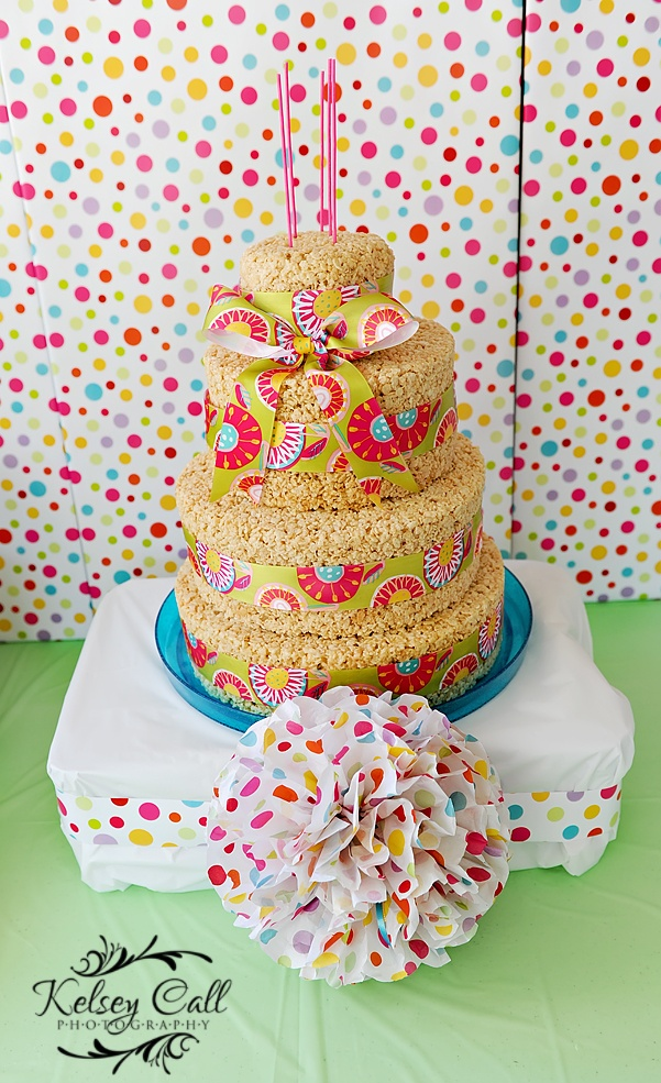 candy party rice krispie cake