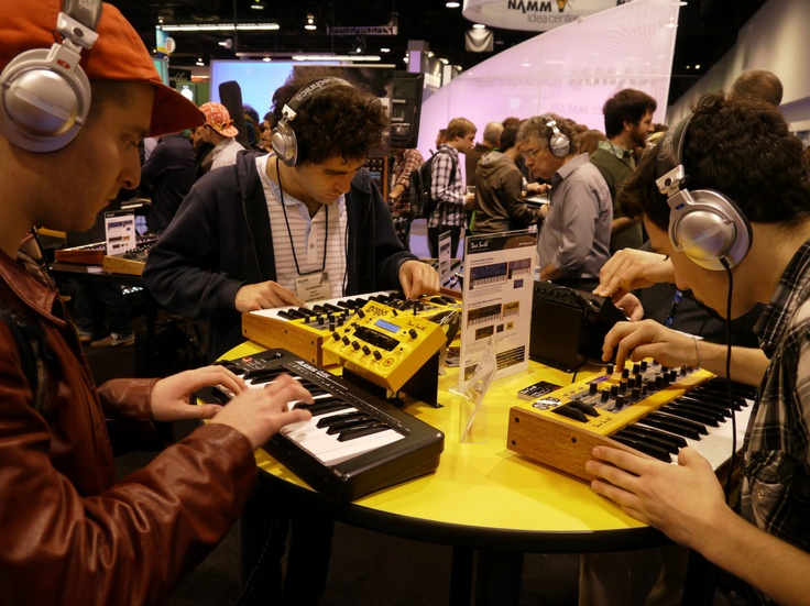 Attendees at the 2012 show of the National Association of Music Merchants. MIDI was first demonstrated at the NAMM show in 1983; today, its built into most of the gear at the show.