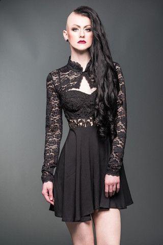 Queen of Darkness - Gothic Spitzen-Bolero mit Stehkragen