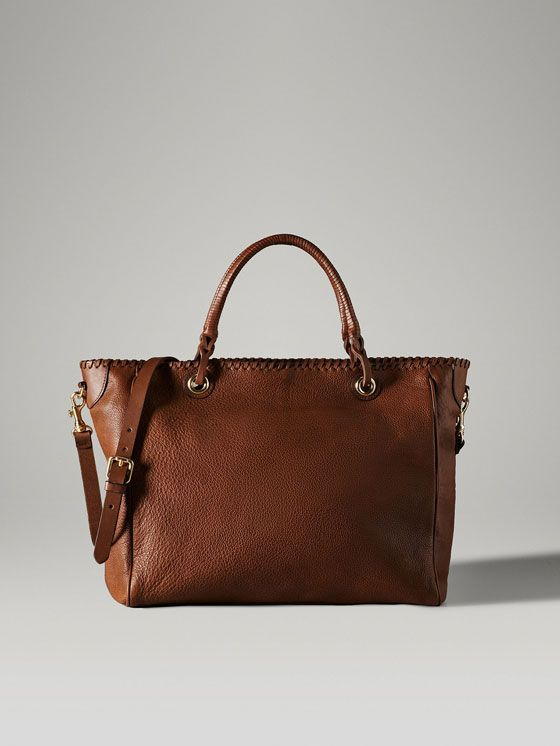 SHOPPER BAG WITH LEATHER HANDLES