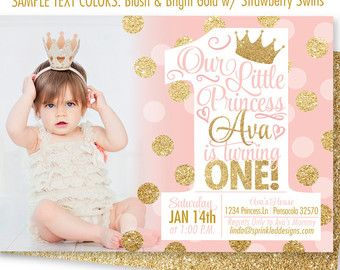 Pink and Gold Girl 1st Birthday Invitations от SprinkledDesign
