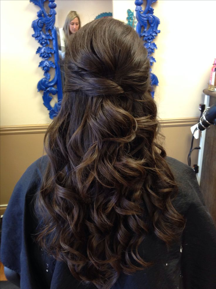 Wedding Hair Half Up Curly Brunette Twist Wedding