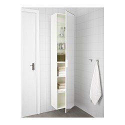 GODMORGON Högskåp med spegeldörr, vit - 40x32x192 cm - IKEA