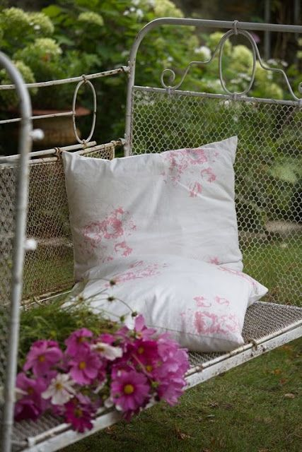 Ticking and Toile - Hatley fabric from Cabbages and roses.  Love the old iron bed