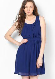 Blue Solid Dress