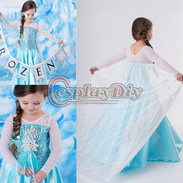2014  Free Shipping Frozen movie princess Elsa Dress Costume for Children Elsa Kids cosplay Costume-in Costumes from Apparel & Accessories on Aliexpress.com