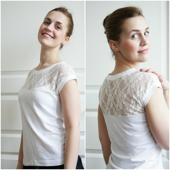 How to make a lace-top tee. Great timing - I was just planning one of these.