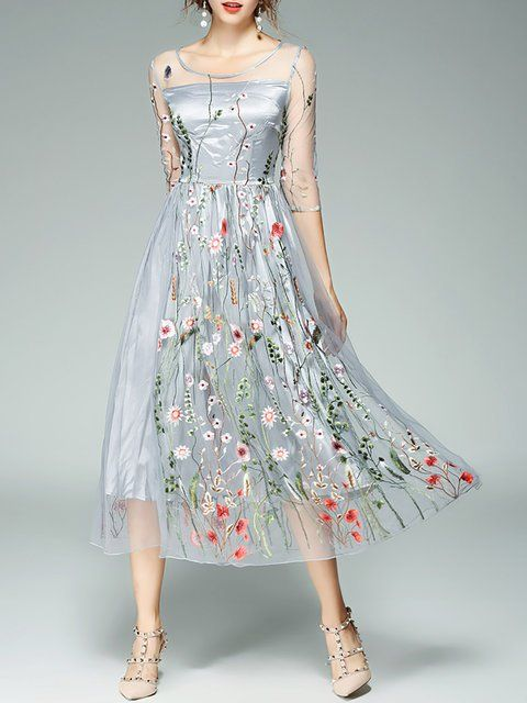 bf218e0e88a Online Shopping Stylewe Plus Size Gray Midi Dress Daily Dress 3 4 Sleeve  Vintage Embroidered Floral Dress