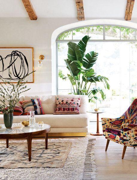 Modern global bohemian style in a living