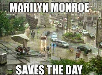 In a rainy day Marilyn Monroe comes with her dress and saves everyone.