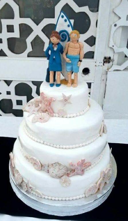 Inma azafata de vuelo y Dani windsurfista. ¡Felicidades pareja! Los sabores elegidos para la tarta son bizcocho de vainilla relleno de nata y frambuesa. Exquisito y delicado. ¡Llámanos al 616849394 y te asesoraremos para que la tarta sea la fresa de tu boda, tenemos el mejor precio de Málaga! www.depaulapasteleria.blogspot.com www.facebook.com/panaderiadeliziasdepaula www.tartasmalaga.net www.instagram.com/tartasmalaga