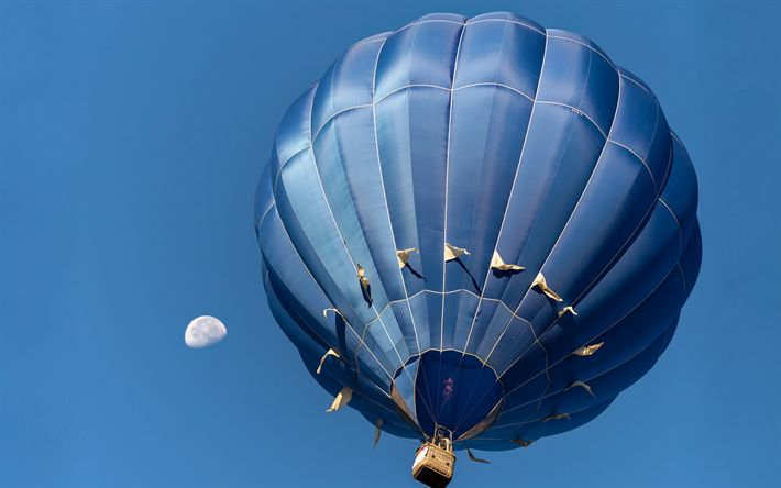 Download wallpapers blue flying inflatable balloon, flying machine, blue clear sky, balloon