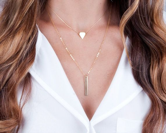 Personalized Bar Necklace Gold Bar Necklace Layered Bar by Tooliks