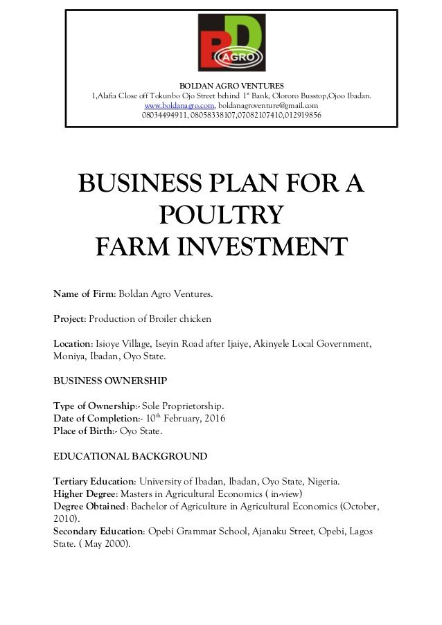 Business Plan For A Poultry Farm Investment Business Planning