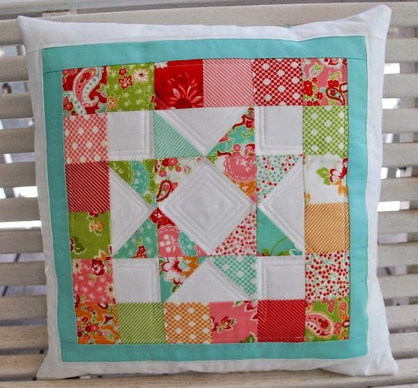 A Quilting Life - a quilt blog. Cute pillow top made with mini charm packs.