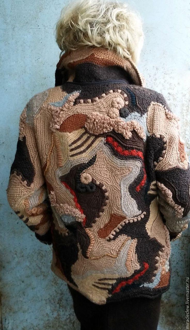 Купить Зимняя вязаная куртка в стиле фриформ, пэчворк, бохо - комбинированный, абстрактный, фриформ, пэчворк