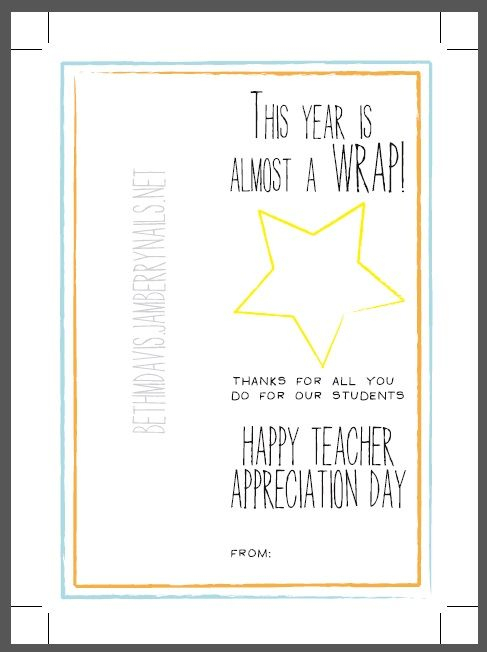Teacher Appreciation Gift idea - Print out and attach a half sheet of Jamberry Wraps for your child's favorite teacher!