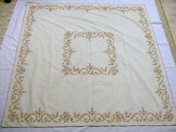 Vintage Tablecloth Vintage Tablecloth with Embroidery Cross