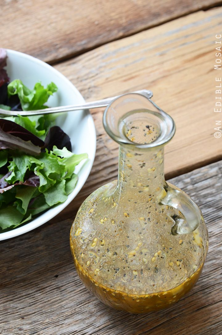 THE BEST SALAD DRESSING - oil, cider vinegar, honey, dijon, tamari, poppy & sesame, and seasoning. Yup, that's all the right stuff!