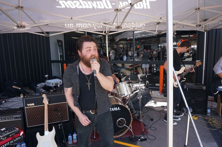 Entertainment at the Gold Coast Harley-Davidson grand opening. Read all about it at http://motorbikewriter.com/harley-883-iron-dealership/